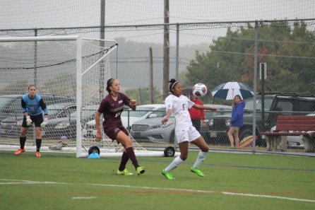 Freshman Tori Mills taking the ball in the box before passing back to Haley Jones for the goal.